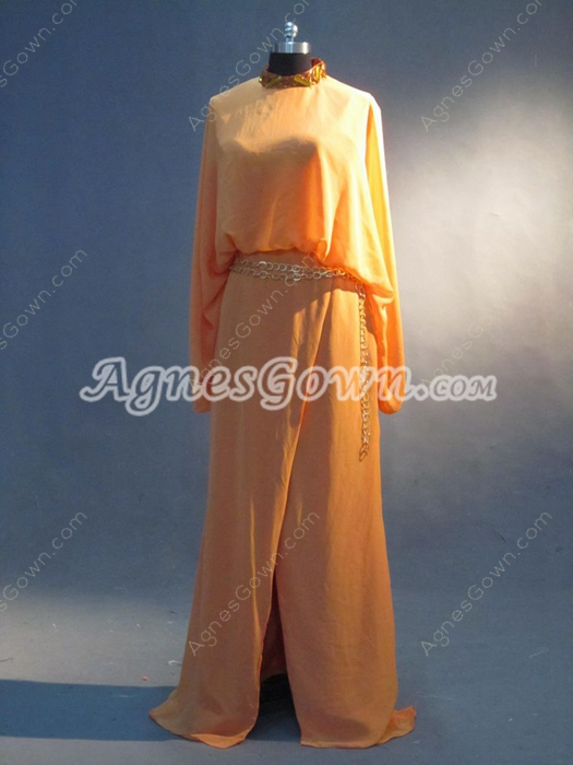 Vintage Orange Long Sleeves Evening Dress