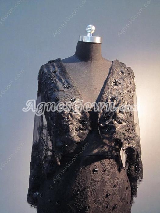 Graceful V-Neckline Black Lace Mother Of The Bride Dresses