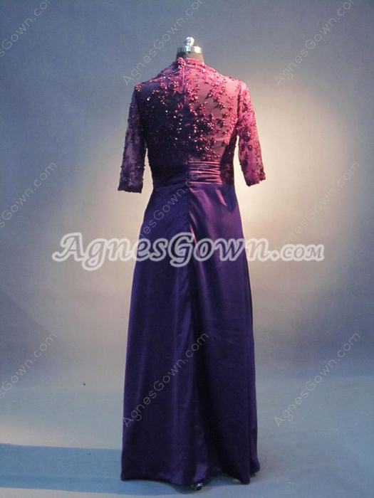 Modest Grape Mother Of The Bride Dresses With 1/2 Lace Sleeves