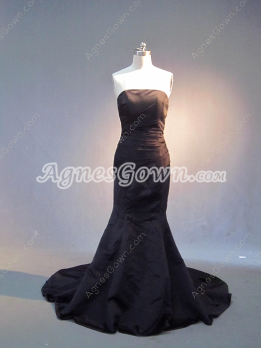 Simple Strapless Black Mermaid Prom Dress with Train