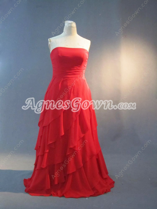Beautiful Red Chiffon Strapless Plus Size Evening Dresses