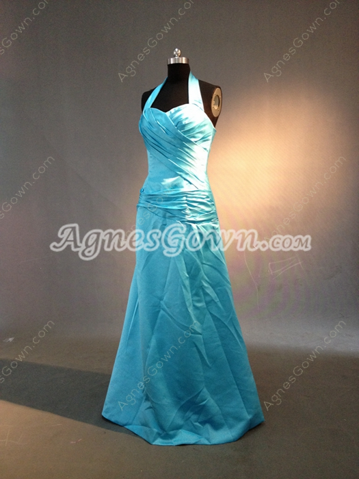 Simple Blue Halter Full Length Evening Dresses With Ruched Bodice