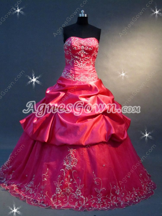 Dramatic Fuchsia Embroidery Quinceanera Dress