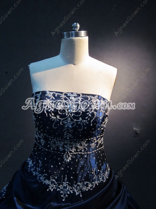 Perfect Navy Embroidery Quinceanera Ball Gown with Jacket