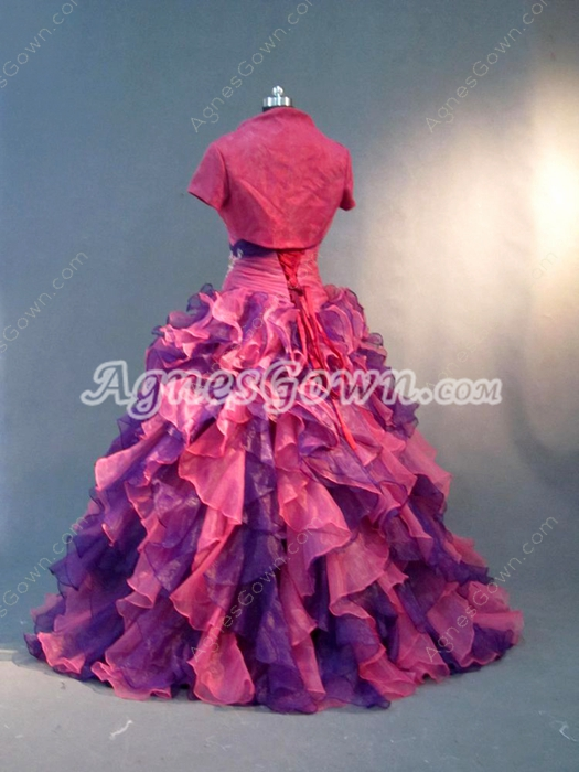 Perfect Ruffled Princess Quinceanera Dress with Short Jacket