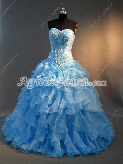 Haute Beaded Blue Drop Waist 2016 Quinceanera Dress with Ruffles