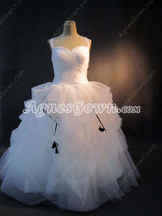 Haute Straps White Plus Size Ball Gown Wedding Dresses