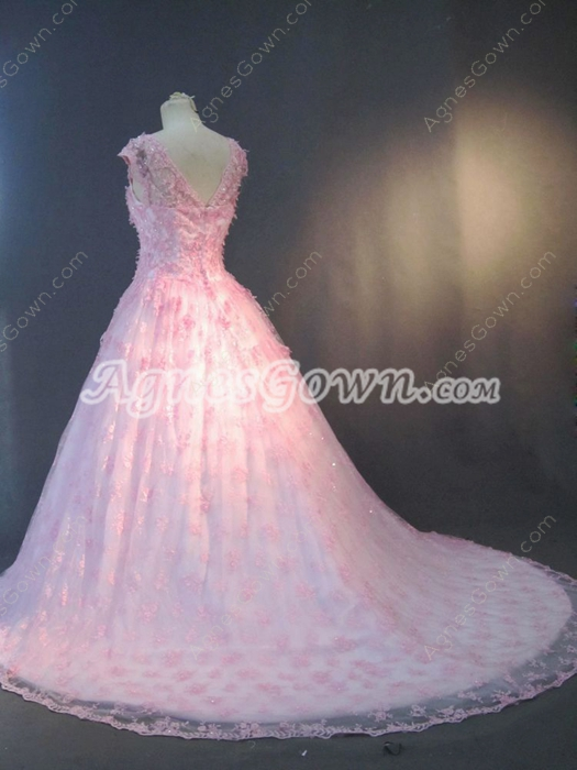 Junoesque Pink Lace Wedding Court Dresses