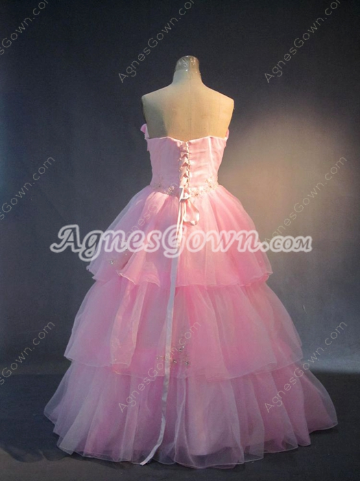 Traditional Pink Plus Size Quinceanera Dresses with Corset