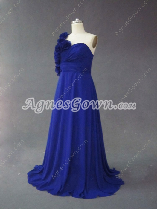 Best Royal Blue One Shoulder Plus Size Evening Dresses