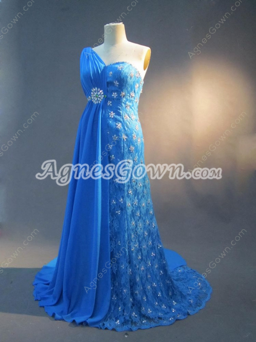 Elegant One Shoulder Blue Chiffon Plus Size Mother of Bride Dress