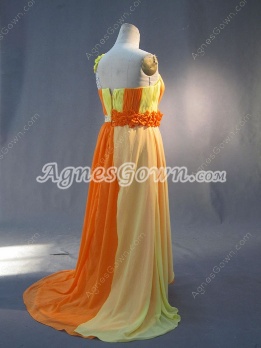 Colorful One Shoulder Maxi Dresses for Full Figure