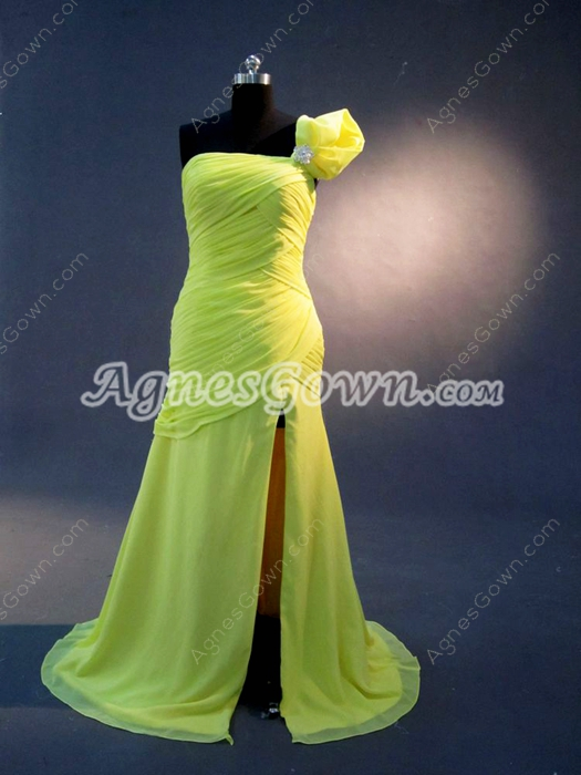 Stylish One Shoulder A-line Full Length Evening Dresses with Slit
