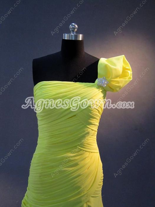 Stylish One Shoulder A-line Full Length Evening Dresses with Slit