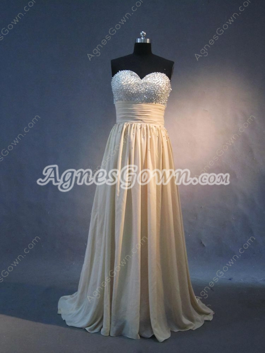 Popular Long Champagne Evening Dresses with Sweetheart