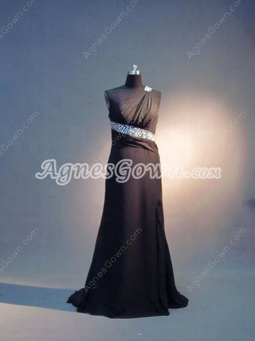 Sexy Black Chiffon One Shoulder Graduation Dresses