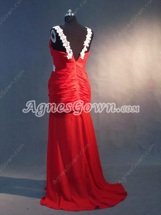 Fantastic Red Chiffon V-Neckline Sheath Graduation Dresses For College