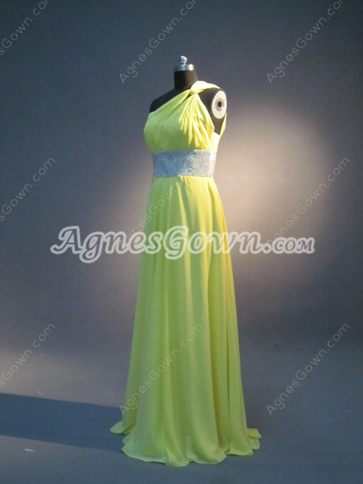 Charming Yellow Chiffon One Shoulder College Graduation Dresses