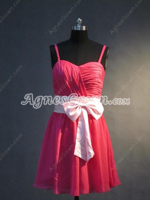 Cute Fuchsia Chiffon Short Bridesmaid Gown
