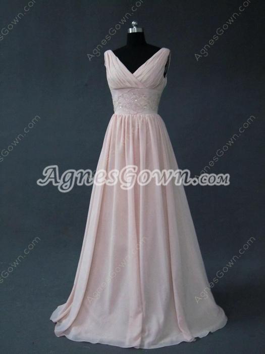 Affordable V-Neckline Pink Bridesmaid Dresses