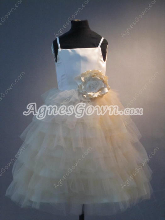 Pretty Champagne Spaghetti Straps Puffy Tulle Toddler Flower Girl Dresses