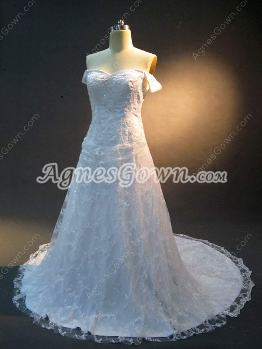 Dramatic Off Shoulder Lace Bridal Dresses Lace Up Back