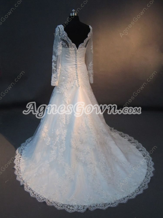 Modest Long Sleeves Lace Wedding Dress with V-neckline