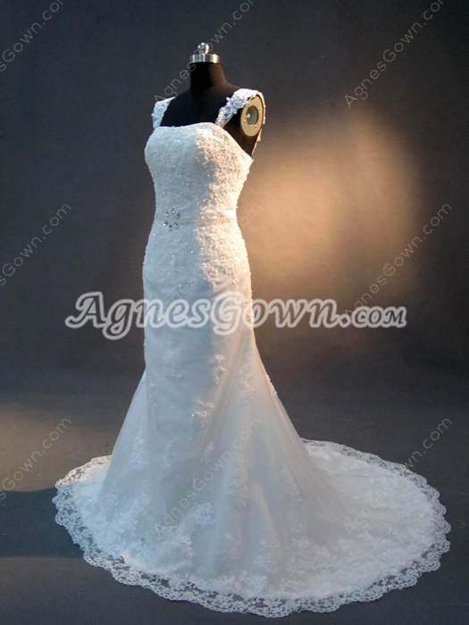 Simple Lace Wedding Dresses with Corset Back
