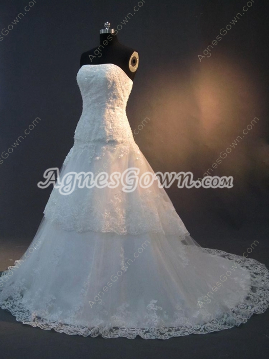 Fantastic Strapless A-line Lace Wedding Dresses