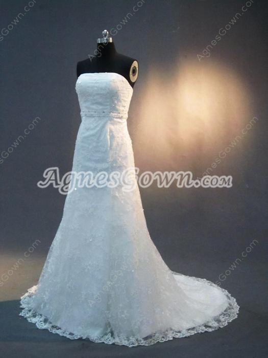 Elegant Strapless Lace Wedding Dresses Vintage