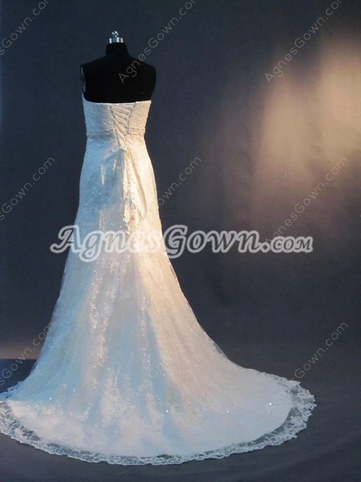 Elegant Strapless Lace Wedding Dresses Vintage