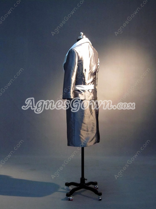 Modest Grey And White Short Mother Of The Groom Dresses with Long Sleeves