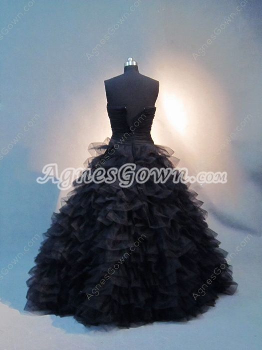 Mystique Black Ruffle 2016 Wedding Dress