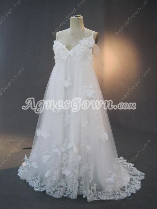 Romantic Empire Lace Maternity Wedding Dresses