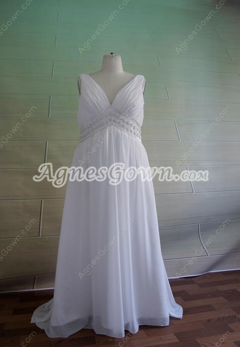 Elegant White Chiffon Maternity Wedding Dresses With Ruched Bust
