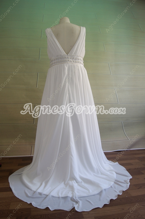 Elegant White Chiffon Maternity Wedding Dresses With Ruched Bust