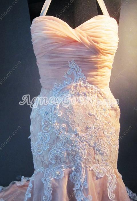 Beautiful Halter Mermaid Wedding Dresses With Appliques