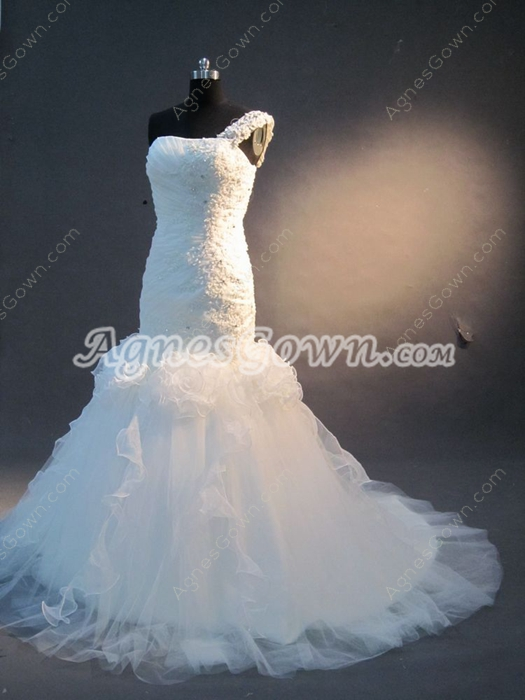 Desirable One Shoulder Spanish Style Lace Wedding Dresses