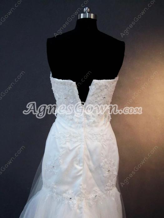 Unique Strapless Mermaid Lace Wedding Dresses