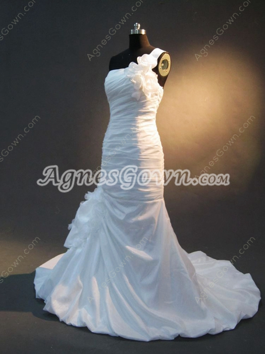 Modern One Shoulder Taffeta White Fishtail Wedding Dresses