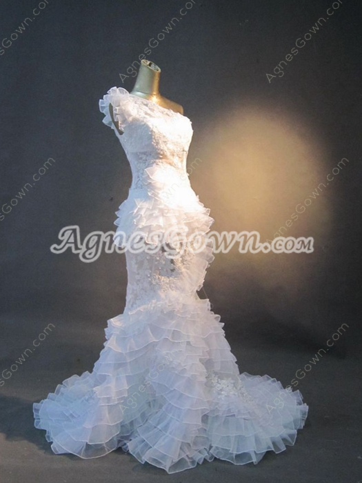Sexy One Shoulder Illusion Fishtail Wedding Dresses With Ruffles