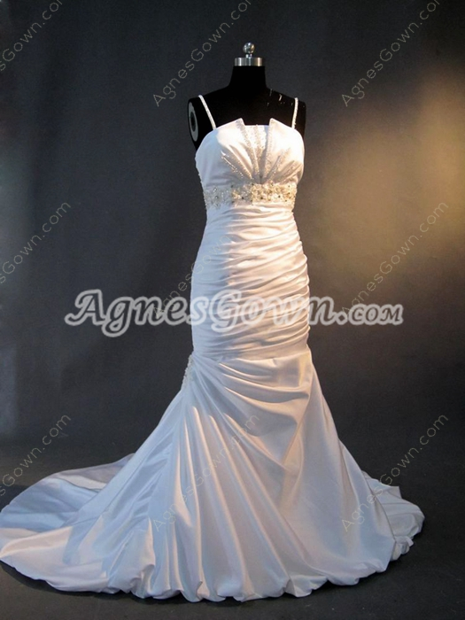 Brilliant Spaghetti Straps White Satin Mermaid Bridal Dresses