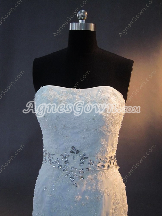 Modern Mermaid Lace Full Figure Wedding Dresses Lace Up Back