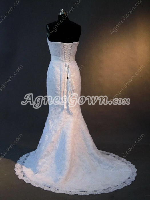 Gorgeous Sweetheart Mermaid Lace Wedding Dresses Brush Train