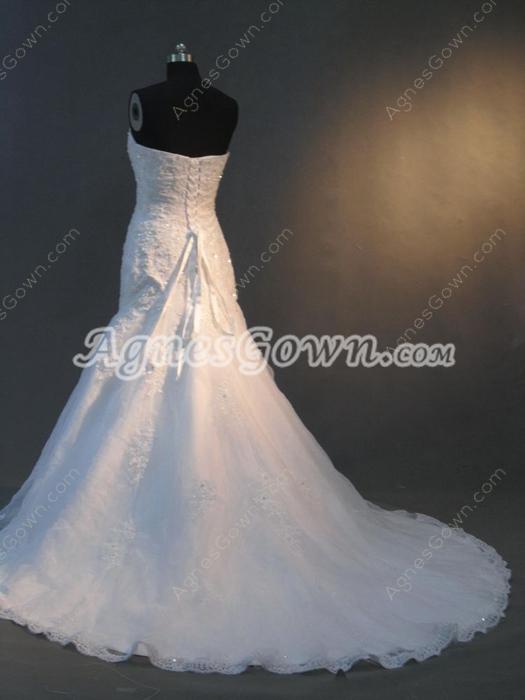Fantastic Strapless Trumpet Lace Wedding Dresses
