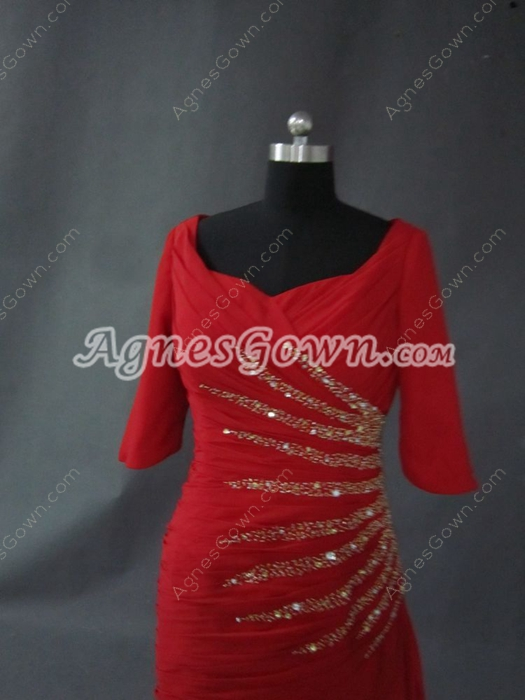 Modest Red Mother Of The Bride Dresses With Sequins