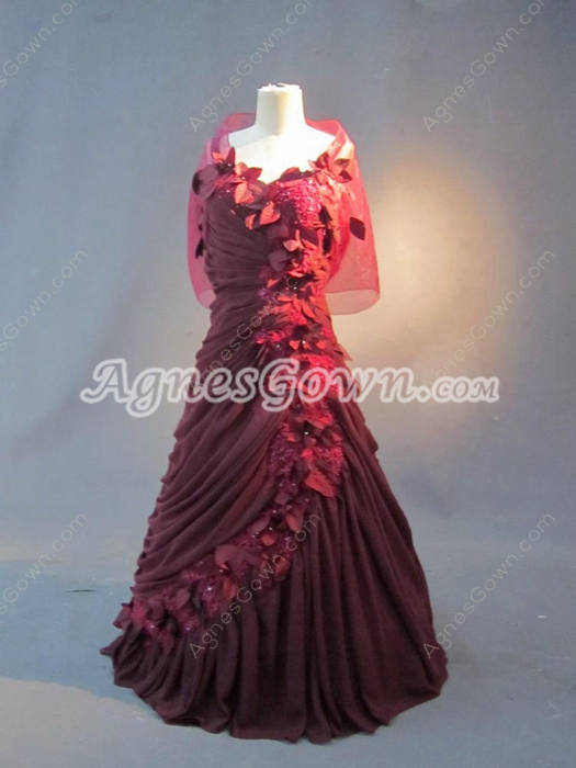Petite Burgundy Full Length Mother Of The Bride Dresses With Covered Shawl