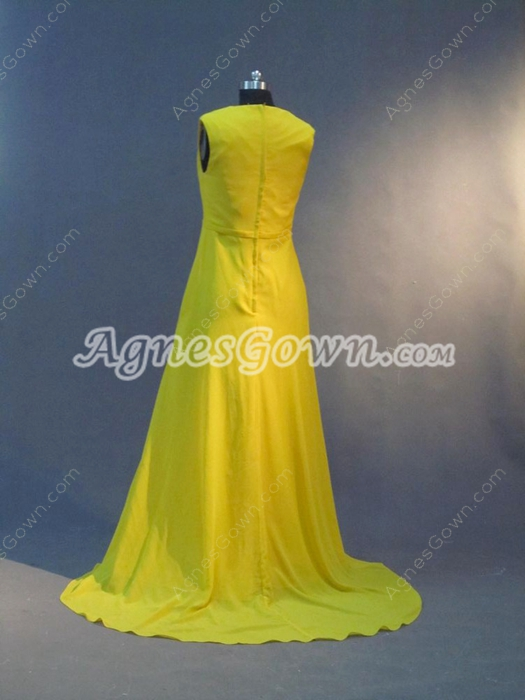 Exclusive Gold Chiffon V-Neckline Mother Of The Bride Dresses