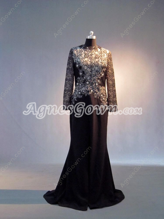 Modest Black Lace Long Sleeves Plus Size Mother Of The Bride Dresses