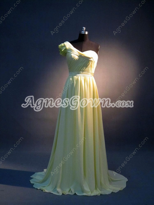 Yellow Chiffon One Shoulder Pageant Dresses For Women